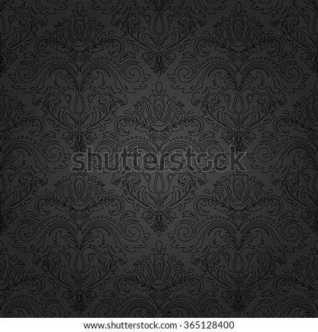 Damask seamless dark ornament with black outlines. Traditional vector pattern. Classic oriental background
