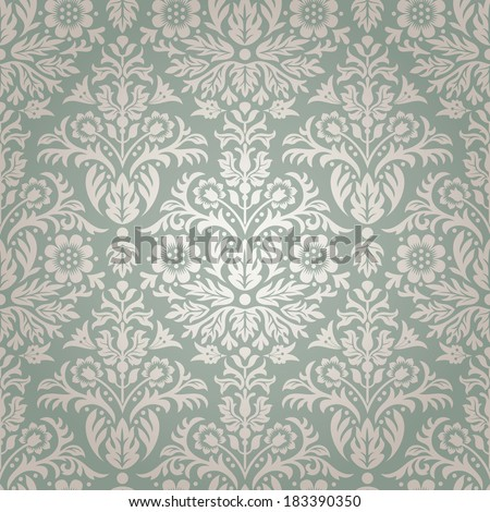 Damask Seamless Floral Pattern Background Vector - stock vector
