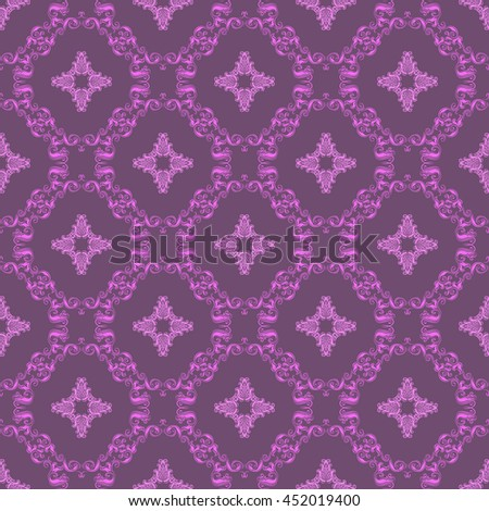Damask seamless floral pattern. Royal wallpaper. Floral ornaments on a purple background. Vector illustration - stock vector