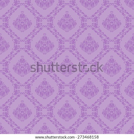 Damask seamless floral pattern. Royal wallpaper. Floral ornaments on lilac background. Vector illustration - stock vector