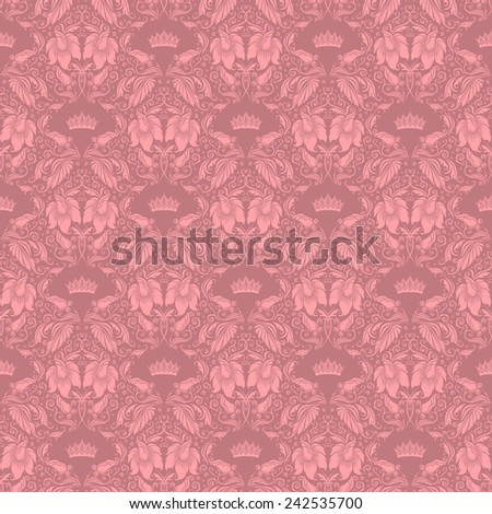 Damask seamless floral pattern. Royal wallpaper. Floral ornaments on pink background. Vector illustration. - stock vector