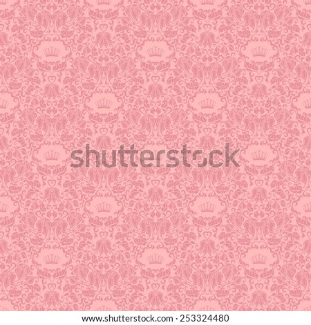 Damask seamless floral pattern. Royal wallpaper. Floral ornaments on pink background. Vector illustration EPS 8. - stock vector