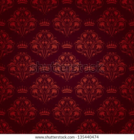 Damask seamless floral pattern. Royal wallpaper. Flowers and crowns on a dark background. EPS 10