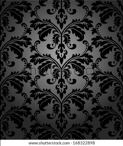 Damask seamless floral pattern. Royal wallpaper. Flowers on a black background. - stock vector