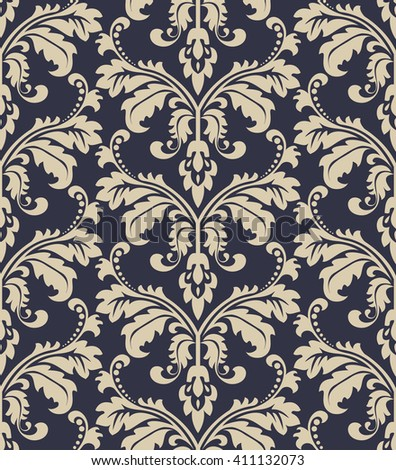Damask Seamless Floral Pattern Royal Wallpaper Flowers On A Black Background Vector Dark