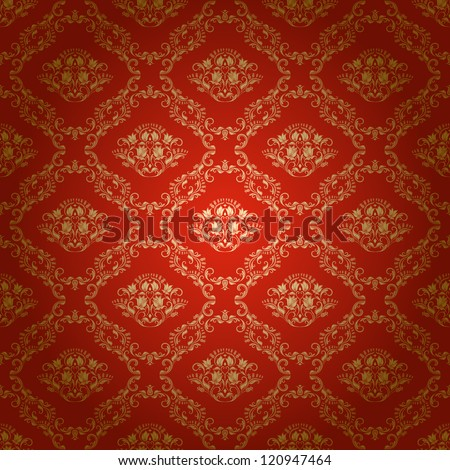 Damask seamless floral pattern. Royal wallpaper. Flowers on a bright background. EPS 10 - stock vector