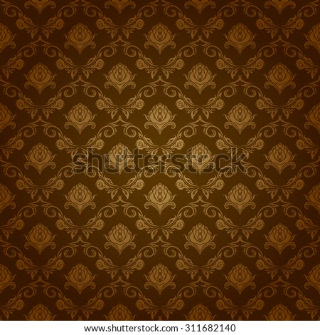 Damask seamless floral pattern. Royal wallpaper. Flowers on a brown background. Vector illustration EPS 10. - stock vector