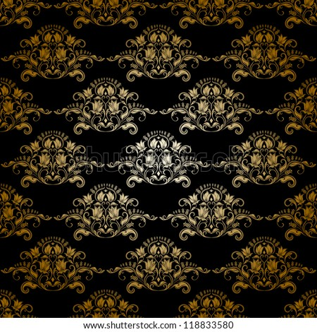 Damask seamless floral pattern. Royal wallpaper. Flowers on a dark background. EPS 10 - stock vector