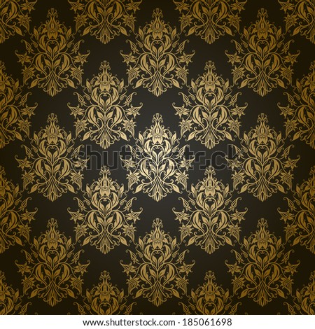 Damask seamless floral pattern. Royal wallpaper. Flowers on a gray background. Vector illustration EPS 10.