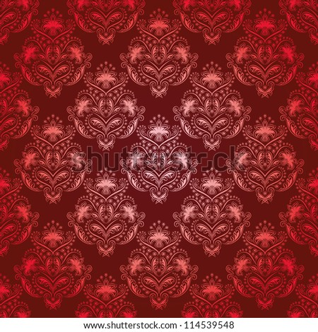 Damask seamless floral pattern. Royal wallpaper. Flowers on a red background. EPS 10 - stock vector
