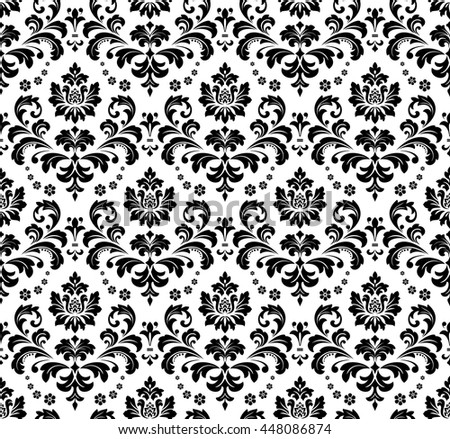 Black And White Damask Design Background