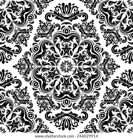 Damask seamless floral pattern. Vector traditional ornament with oriental elements for backgrounds. Black and white colors - stock vector
