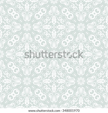 Damask seamless light blue and white ornament. Traditional vector pattern. Classic oriental background