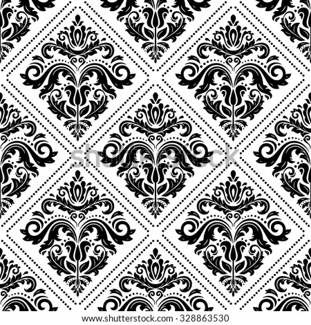Damask seamless ornament. Traditional vector pattern. Classic oriental black and white background - stock vector