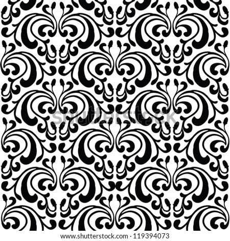 Damask seamless pattern, black and white luxury damask ornament, exquisite floral baroque template, royal victorian seamless print for wallpapers, textile, wrapping, vector illustration