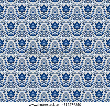 Damask Seamless Pattern. Elegant Design in Royal Baroque Style Background Texture. Floral and Swirl Element. Ideal for Textile Print and Wallpapers.Vector Illustration. - stock vector