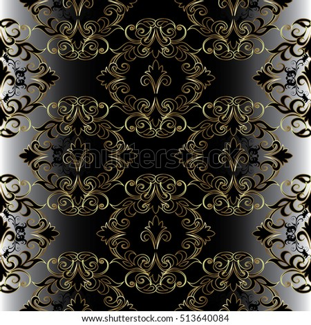 Damask seamless pattern. Elegant floral vector black background wallpaper with vintage decorative antique black and gold flowers, leaves and ornaments.