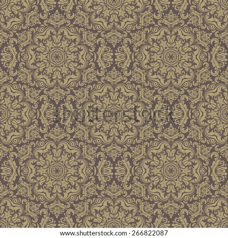 Damask seamless pattern. Fine vector traditional ornament with oriental golden elements