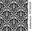 Damask seamless pattern for background design in white and black color. Jpeg version also available in gallery - stock photo