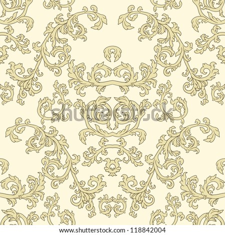 Damask seamless pattern in beige color