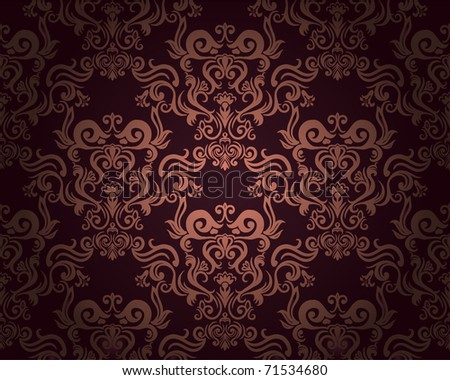 Damask seamless pattern on dark background. Could be used as repeating wallpaper, textile, wrapping paper, background, etc. - stock vector