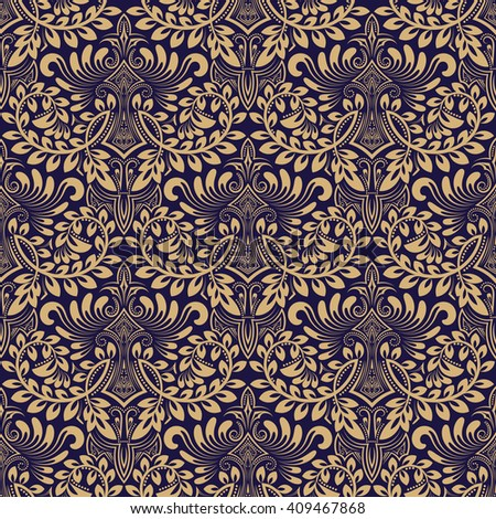 Damask seamless pattern repeating background. Blue beige floral ornament in baroque style. Antique repeatable wallpaper design. - stock vector