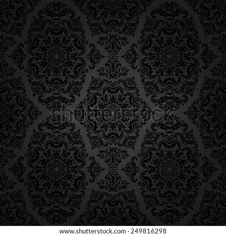 Damask seamless pattern. Vector traditional dark ornament with oriental elements for backgrounds
