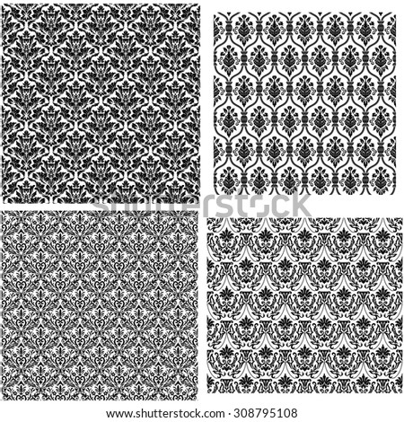 Damask Seamless Vector Pattern Set.  Elegant Design in Royal  Baroque Style Background. Floral and Swirl Element. Black and White Color. Ideal for Textile Print and Wallpapers.
