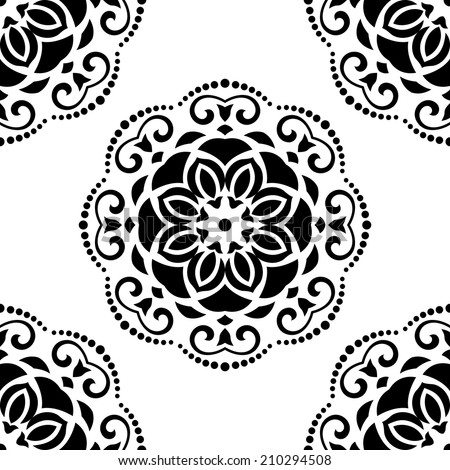 Damask seamless vector pattern with floral elements. Abstract background in the style of Baroque