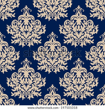 Damask style seamless pattern on navy blue with a beige repeat floral motif suitable for wallpaper, tiles and fabric design in square format - stock vector