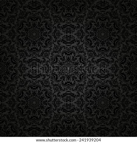 Damask vector floral pattern with arabesque and oriental black elements. Seamless abstract traditional ornament for wallpapers and backgrounds