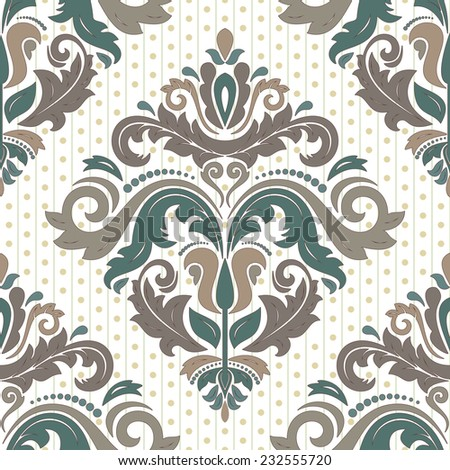 Damask vector floral pattern with arabesque and oriental colorful elements. Seamless abstract traditional ornament for wallpapers and backgrounds - stock vector