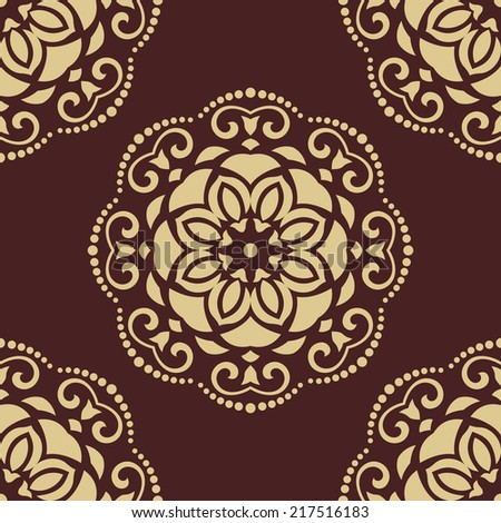 Damask vector floral pattern with arabesque and oriental elements. Seamless abstract wallpaper and background
