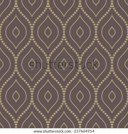 Damask vector floral pattern with arabesque and oriental golden elements. Abstract traditional ornament for wallpapers and backgrounds - stock vector