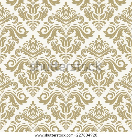 Damask vector floral pattern with arabesque and oriental golden elements. Seamless abstract tradiional ornament for wallpaper and background - stock vector