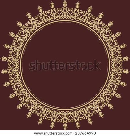 Damask vector floral pattern with arabesque and oriental round golden elements. Abstract traditional ornament for wallpapers and backgrounds - stock vector