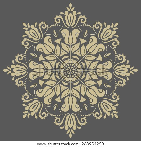 Damask vector floral pattern with golden arabesque and oriental elements. Abstract traditional ornament - stock vector