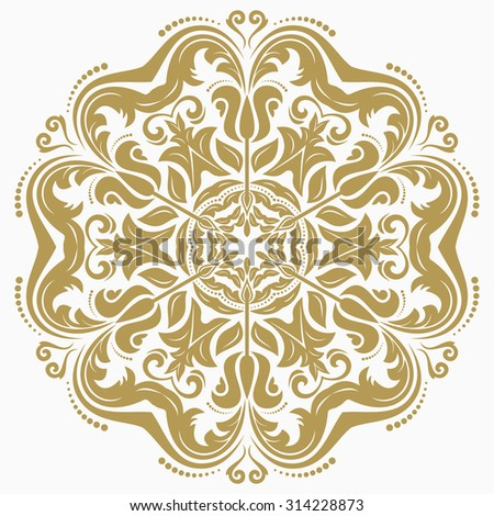 Damask vector floral pattern with oriental elements. Abstract traditional golden ornament