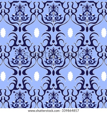Damask Vector Pattern in blue and white colors. Elegant Design in Royal Baroque Style Background Texture. Floral and Swirl Element. Ideal for Textile Print and Wallpapers.
