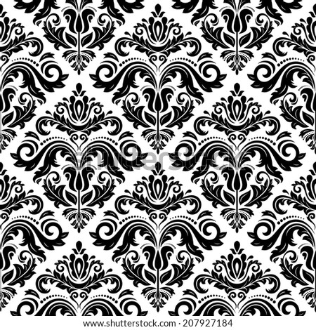 Damask vector pattern. Seamless vintage abstract texture for wallpapers and background - stock vector