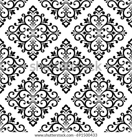 Damask Wallpaper A Seamless Vector Background Black And White Texture Floral Ornament