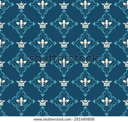 Damask wallpaper background in retro style for your design seamless pattern vector illustration - stock vector