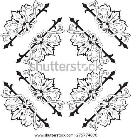 Damask wallpaper. Black seamless damask pattern. Vector.  - stock vector