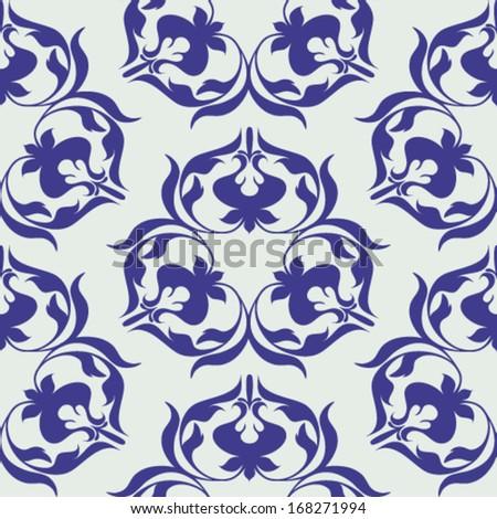 Damask wallpaper on holiday hues - stock vector