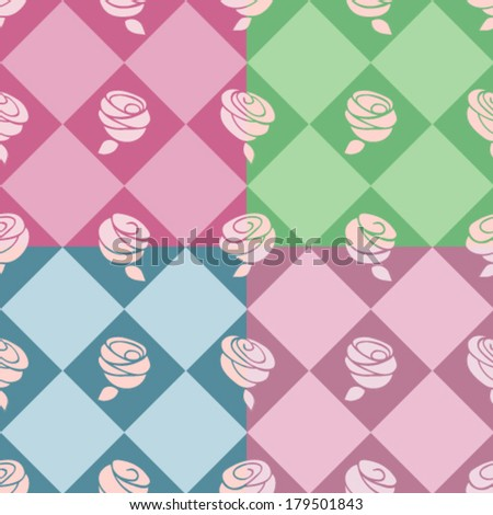 Damask wallpaper on pink, green, blue, purple background.
