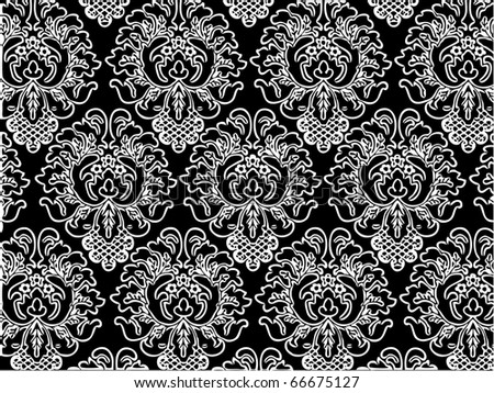 Damask wallpaper seamless pattern - stock vector
