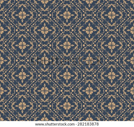 Damask wallpaper seamless pattern background in retro style for your design vector illustration - stock vector