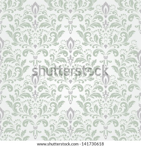 Damask wallpaper.Seamless vector floral background. - stock vector