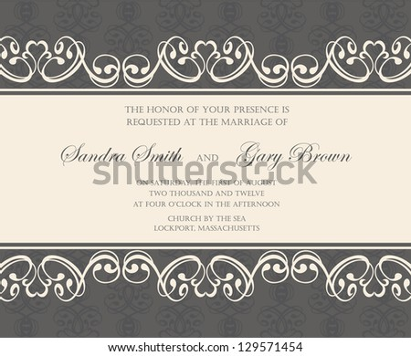 Damask wedding invitation or announcement card. - stock vector