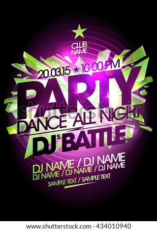 Dance all night party art design.